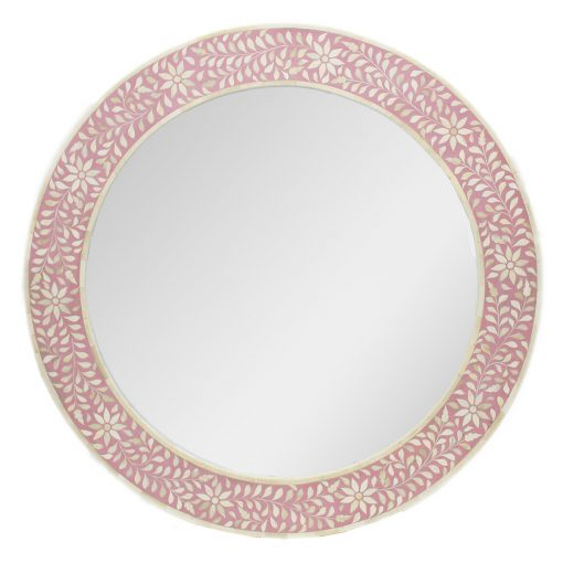 Roomattic Rose Pink Round Bone Inlay Mirror
